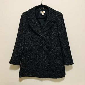 Talbots - Wool Blend, Lined, Black and White Coat